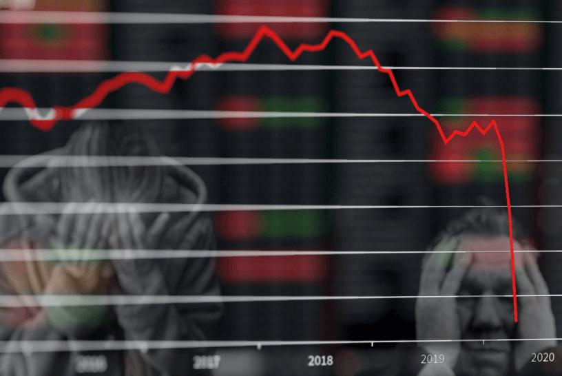Borsa düşüş grafiği ve üzgün insanlar